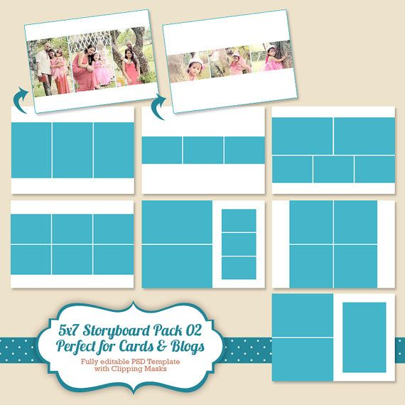 Instant Download Storyboard Template 5x7, Digital Collage and Blog - digital storyboard templates