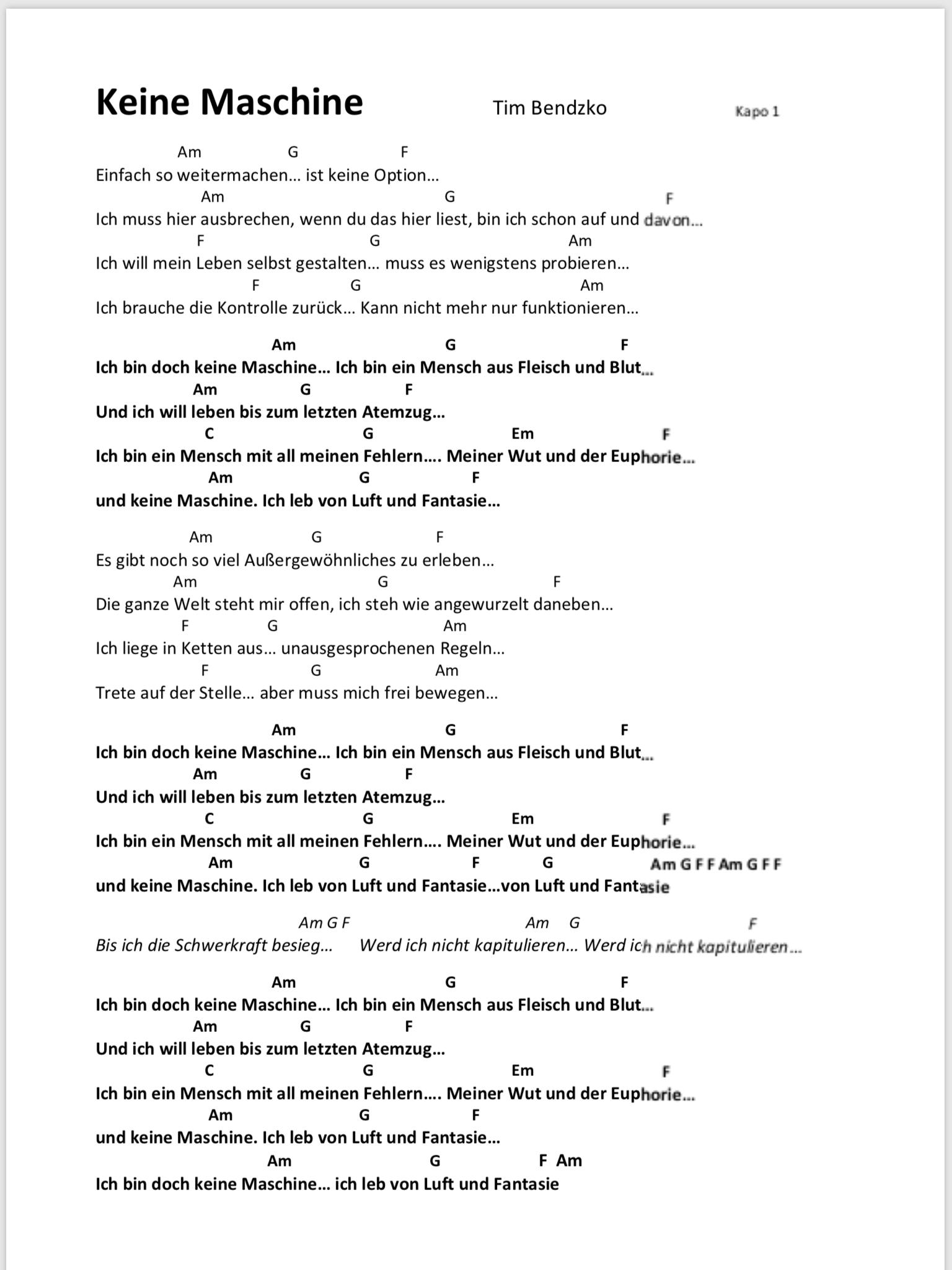 Keine Maschine Songtext und Akkorde – Claudia Kramme Musik