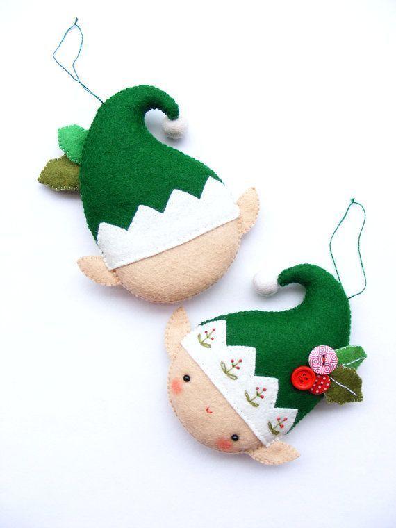 PDF pattern Christmas elf Felt Christmas ornament por ...