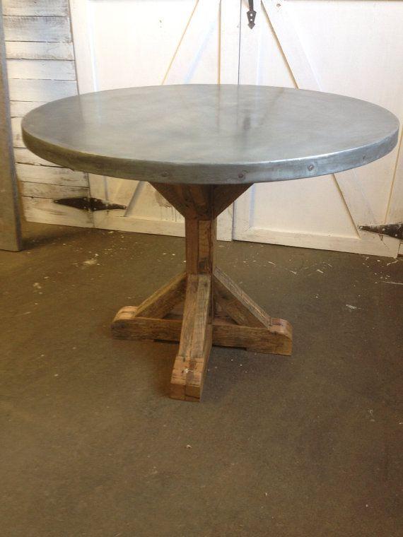 Pleasant 40 Round Top Zinc Table By Kiddeppsartshop On Etsy 1500 00 Interior Design Ideas Oxytryabchikinfo