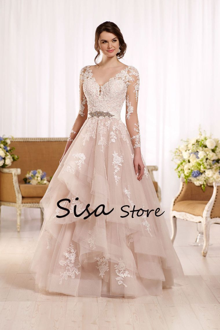 2017 New Arrival V Neck Long Sleeves Tulle With Applique Wedding ...