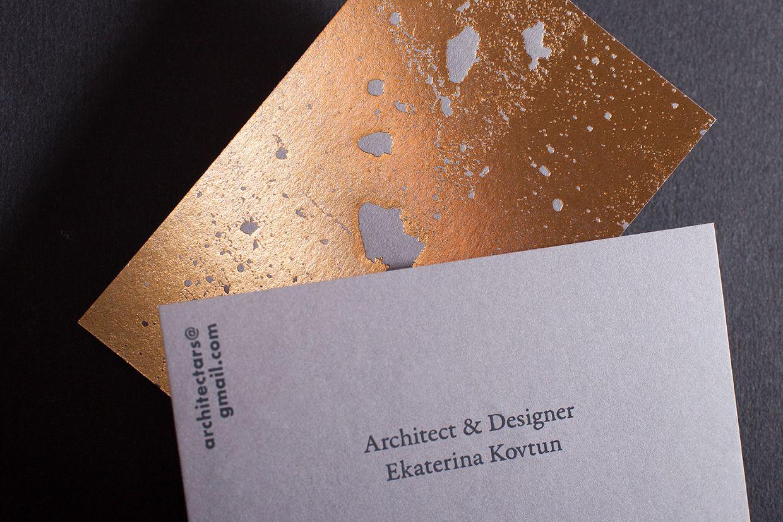 Golden concrete architect business card   Minimal business card ...