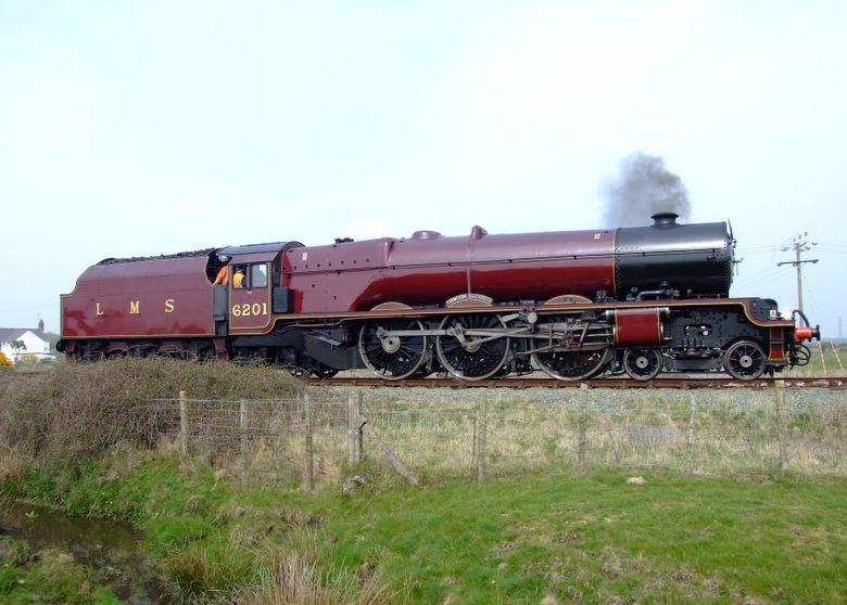 Special Steam Trains (1968 - 2006)  Ex-L.M.S. 'Princess Royal' pacific, No. 6201, 'Princess Elizabeth' after turning on the Valley Triangle waits   for the road back to Holyhead ('Granite City' railtour).