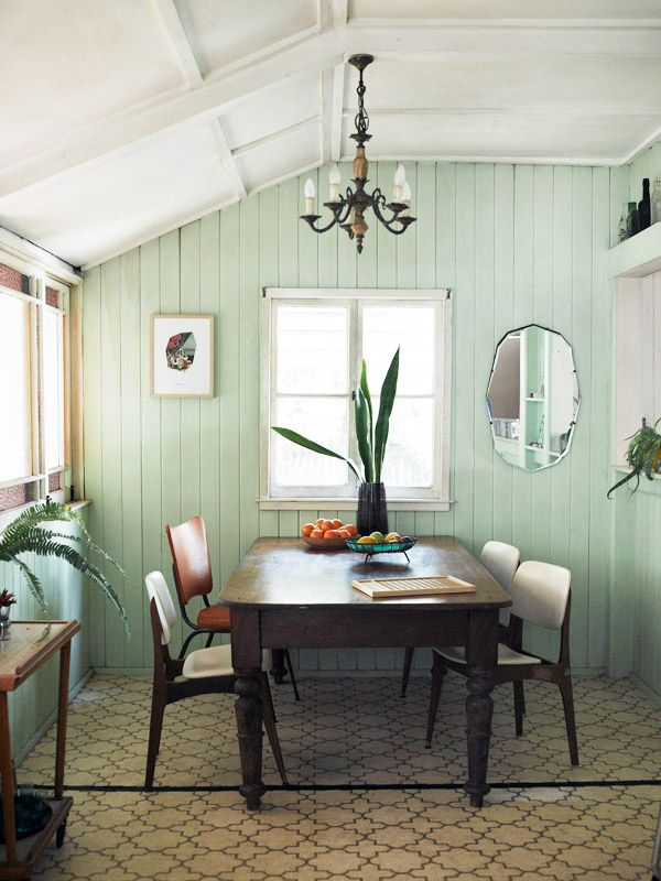 Mint walls white accents dark wood all very