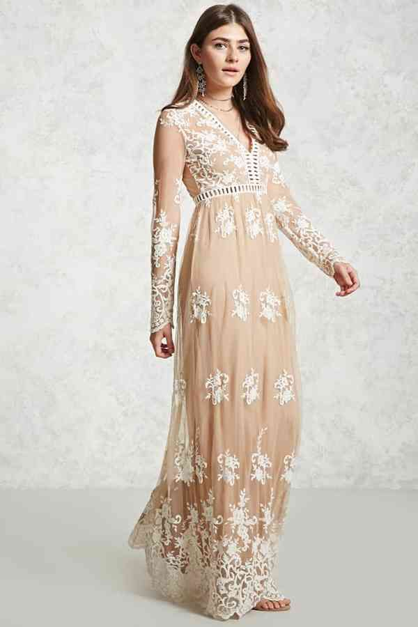 f5b4804165c2 FOREVER 21 Embroidered Maxi Dress. I would rock this Boho Chic look at  summer spring wedding. So pretty!