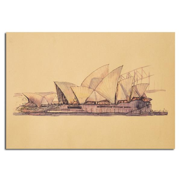 Sydney Opera House Sketch Poster Kraft Paper Wall Poster Sticker 21 ...