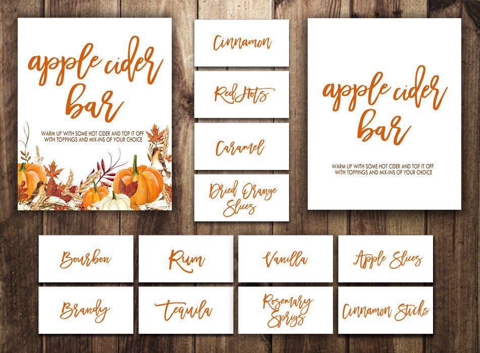 Apple Cider Bar Sign   Hot Cider Bar   Fall Wedding   Bridal Shower   Autumn Baby   Spiked Hard Cider   Pumpkins Leaves   Orange   Rustic #spikedapplecider