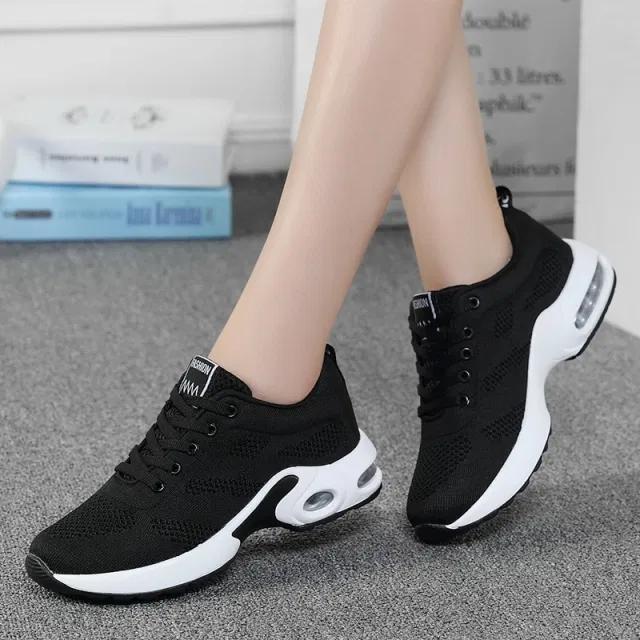 Fashion Women Lightweight Sneakers Running Shoes Outdoor Sports Shoes Breathable Mesh Comfort Running Shoes Air Cushion Lace Up Negamy Sneakers Mode Turnschuhe Damen Extravagante Schuhe