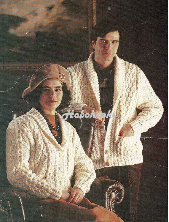 b7272bae4 womens   mens aran cardigans knitting pattern 32-44 inches ARAN ...