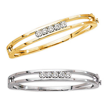 Clic Add A Diamond Bangle Bracelet Handmade In Solid 14kt Yellow Or White Gold With Double Security Lock Diamonds Extra