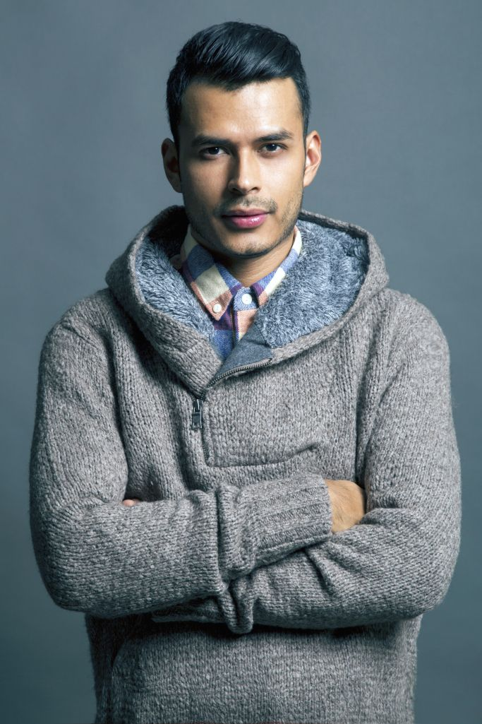 Jorge Gallegos from iammanchic.com wears our Shawl Collar Sherpa Hoodie!