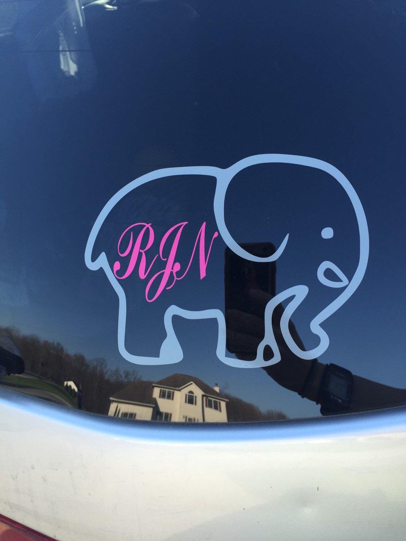 Cute Elephant Monogram Window Decal Cute Elephant Monogram Decal Mother Daughter Crafts [ 1500 x 1125 Pixel ]