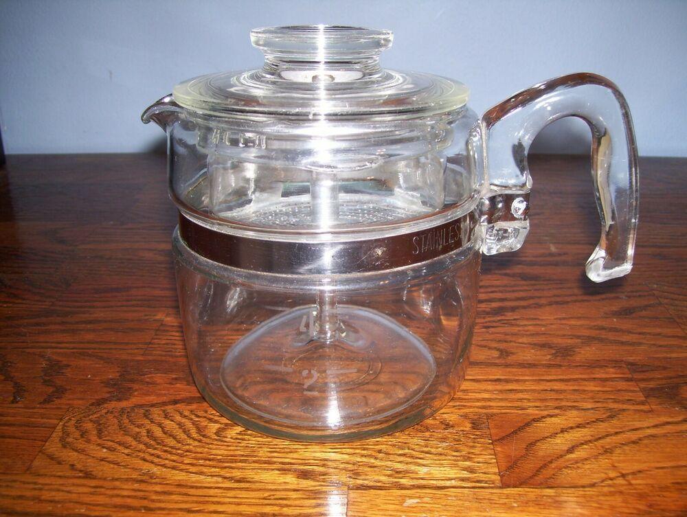 Vintage Pyrex 4 Cup Percolator Coffee Pot Complete.. Look