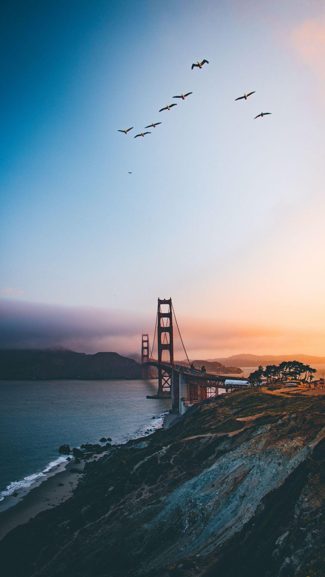 Golden Gate Bridge Sky Clean Sunset Iphone Wallpaper Travel Travel Wallpaper City Wallpaper