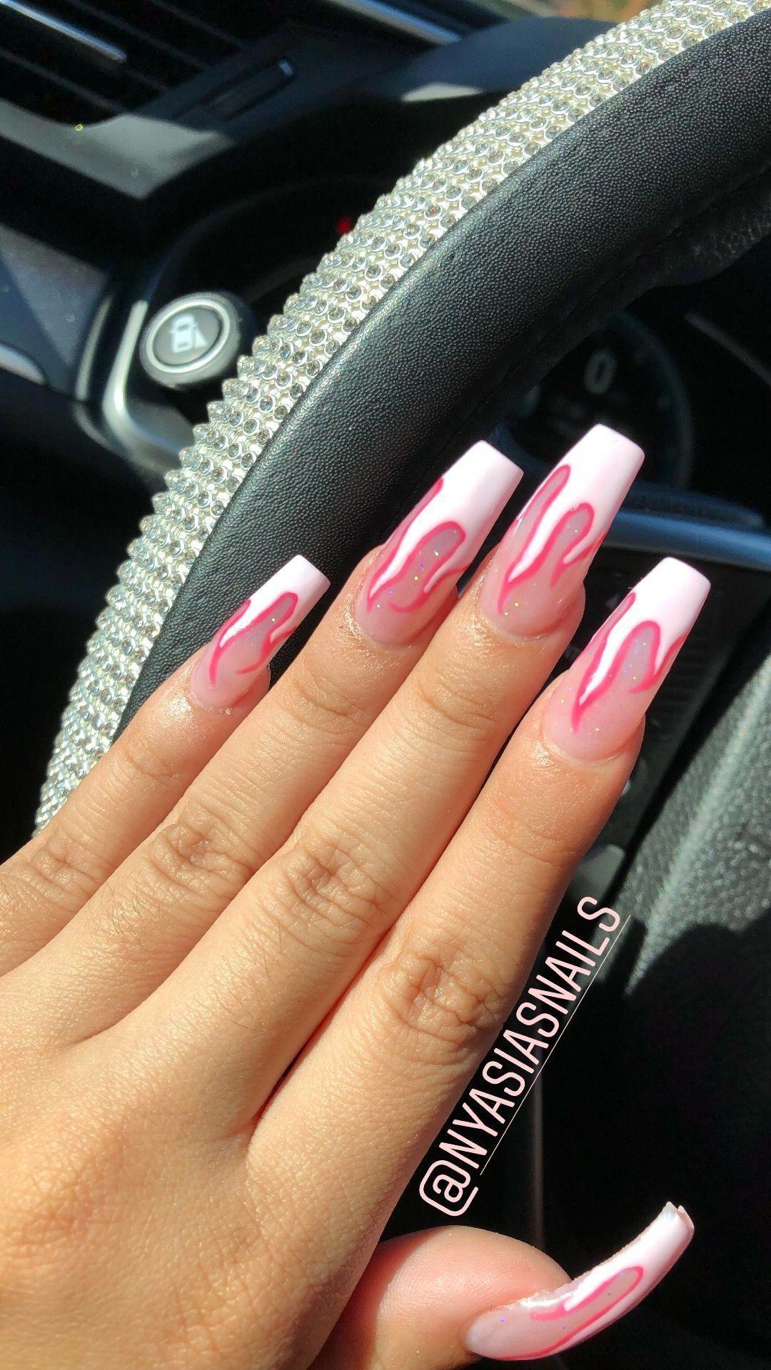 Nails Pink Flame Nails Long Acrylic Coffin Shape Nailscoffin Nailsshape In 2020 Coffin Shape Nails Acrylic Nail Shapes Pink Acrylic Nails