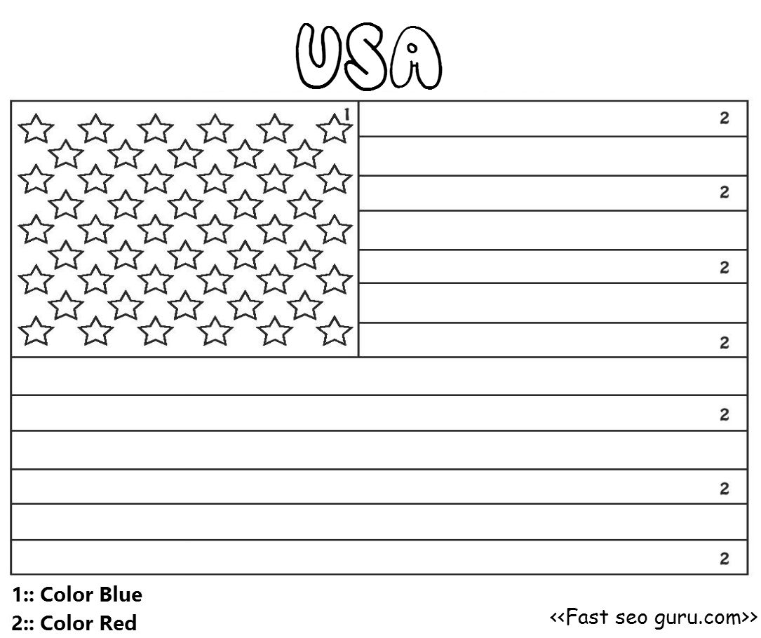 Printable Usa Flag Color By Number For Preschool