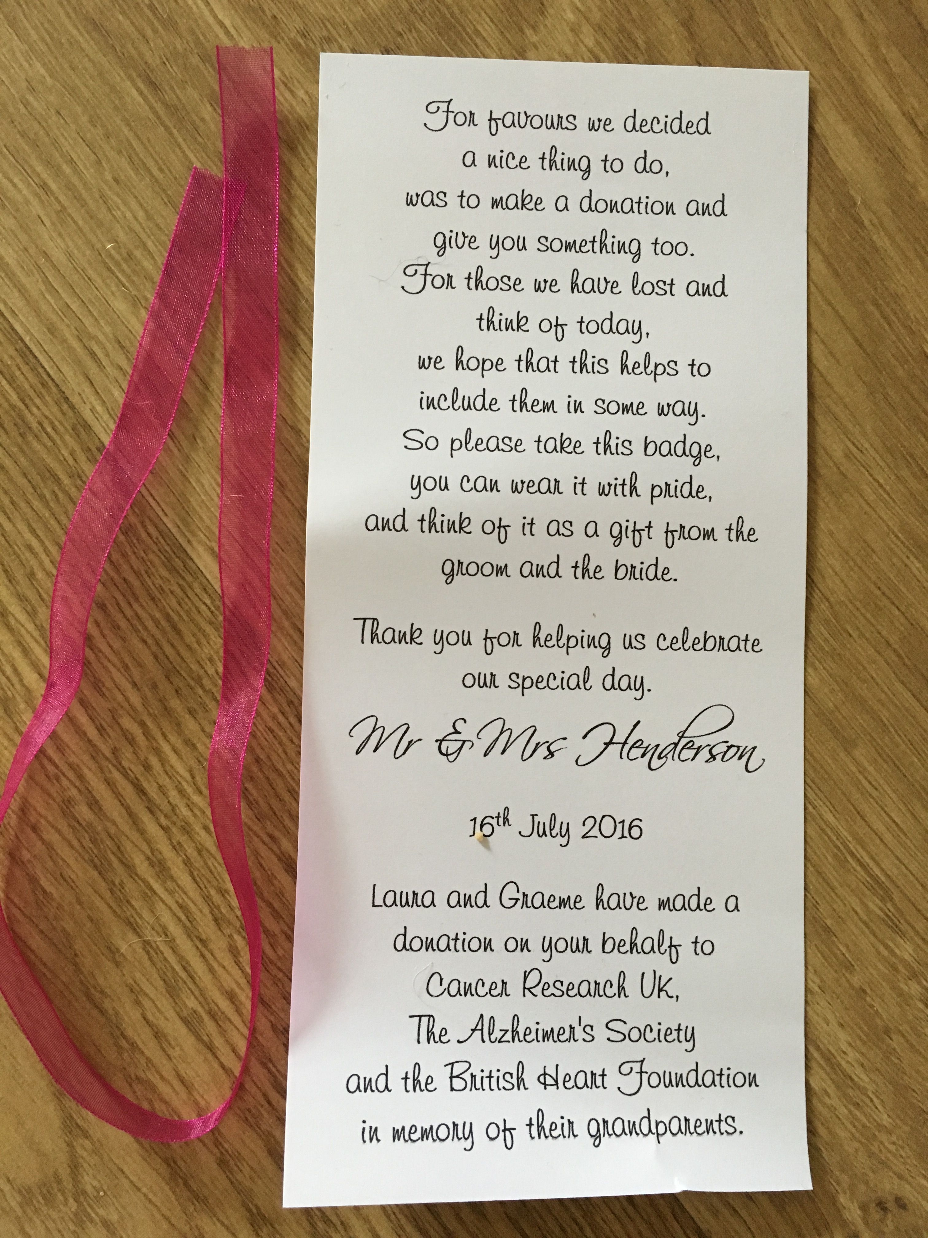 Favours Poem For Charity Pins Charityweddingfavours Wedding Favors Beach Marquee