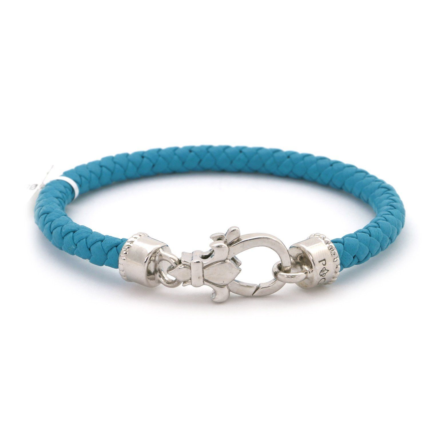 "Round Braided Turquoise Genuine Leather & Sterling Silver Fleur De Lis Clasp Woven 7.25"" Bracelet"