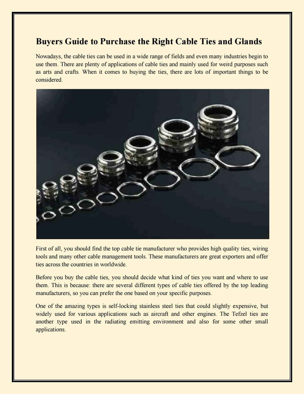 Buyers guide to purchase the right cable ties and glands | Cable ...