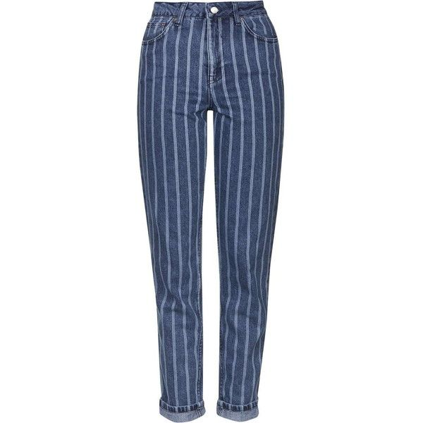TOPSHOP MOTO Indigo Stripe Mom Jeans (23 KWD) liked on ...