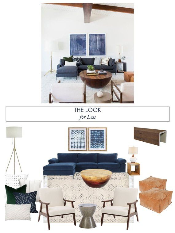 Look for Less Mid Century Modern Living Room Interior Design Moodboard - Contemporary Scandinavian Living Room Designs #havenlylivingroom