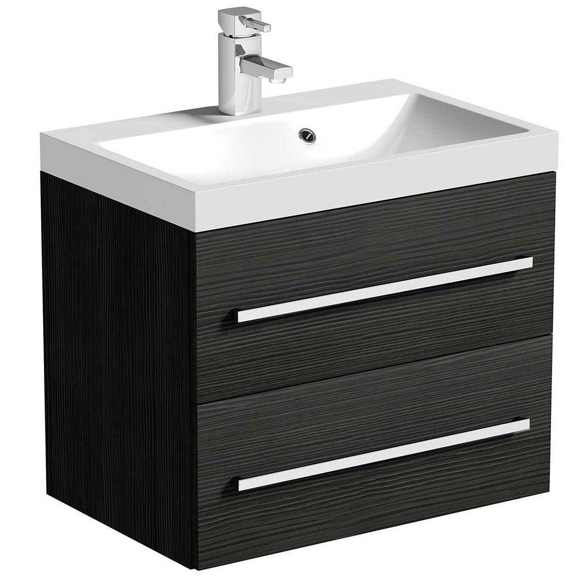 drift grey 2 drawer wall hung unit inset basin victoria plumb 199 - Bathroom Accessories Victoria Plumb