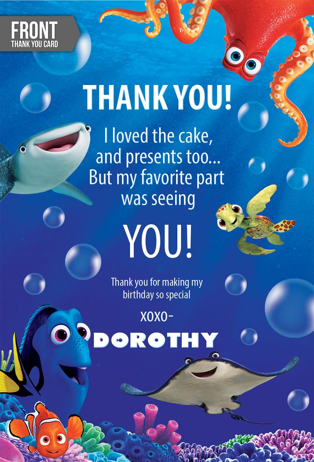 Finding Dory Invitation With FREE Thank You Card