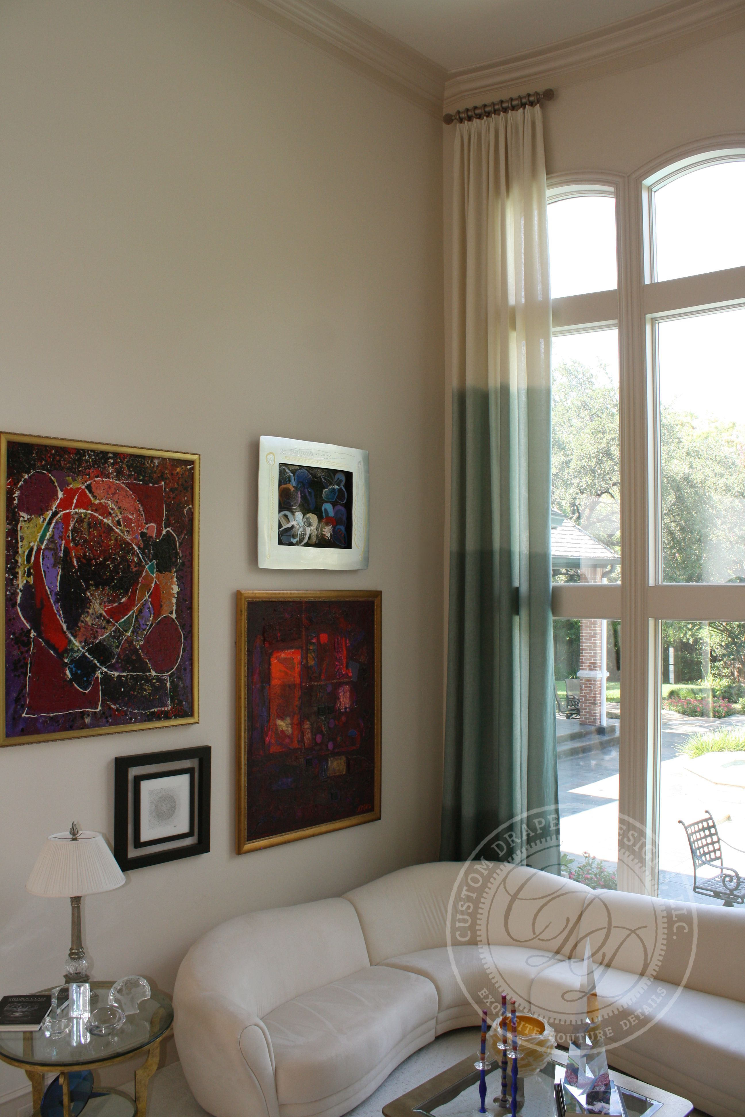Living Room Windows Design: Custom Drapery Designs, LLC.