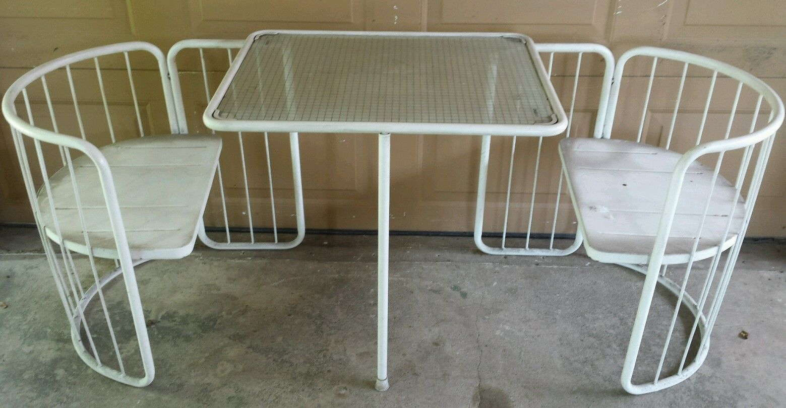 Chairs Table Bistro Set Mid Century