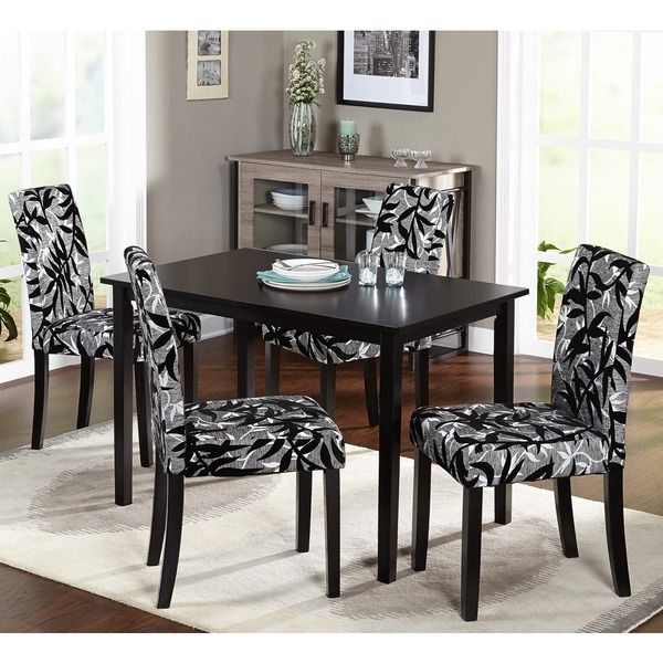 Simple Living Parson Black And Silver 5Piece Dining Table And Custom Dining Room 5 Piece Sets Inspiration Design