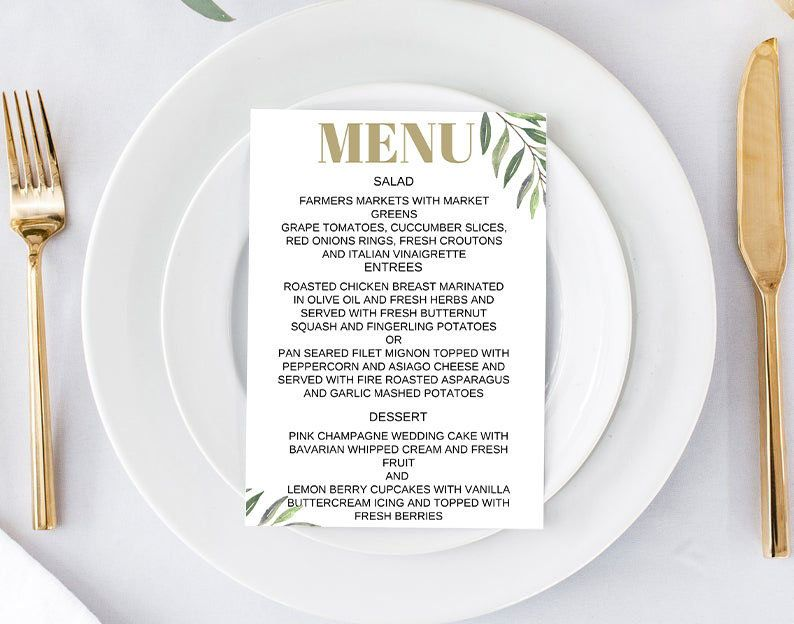 Printable Wedding Menu | Wedding Menu Template | Wedding Menu Card | Menu Template | Printable Wedding Menu Template | Reception Menu | K101