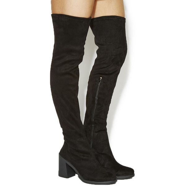 Office Ethan Flared Heel Over The Knee Boots 58 Liked On Polyvore Featuring Thigh High