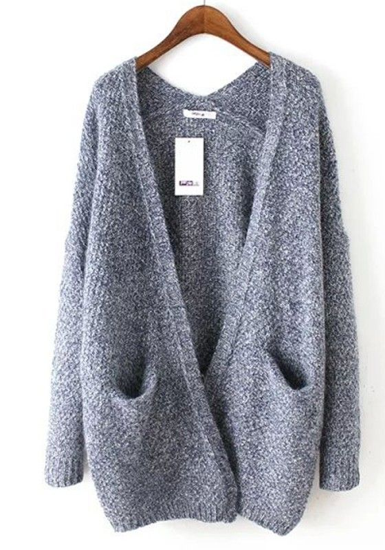 Blue Plain Pockets Long Sleeve Cardigan Sweater | list to get ...