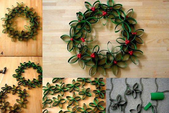 C mo hacer coronas de navidad con rollos de papel - Manualidades para hacer en navidad ...