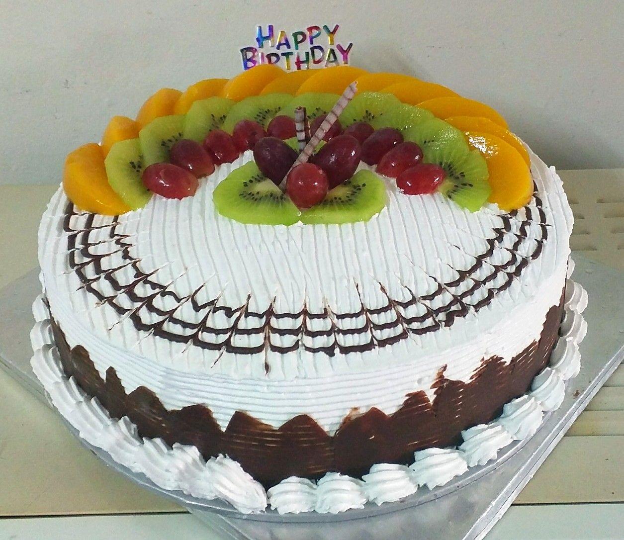 Cuadrado Pasteles Decorados Con Fruta Y Chocolate