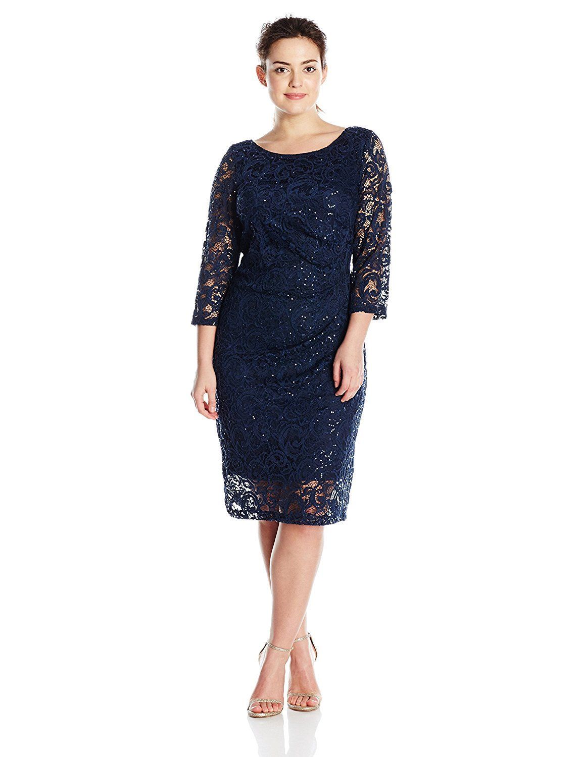 924e5a5d8e0 Marina Women s Plus Size Short 3 4  Sleeve Sequin Dress with Side Pleating  and V-Neck Back    Check out this great image   Plus size dresses