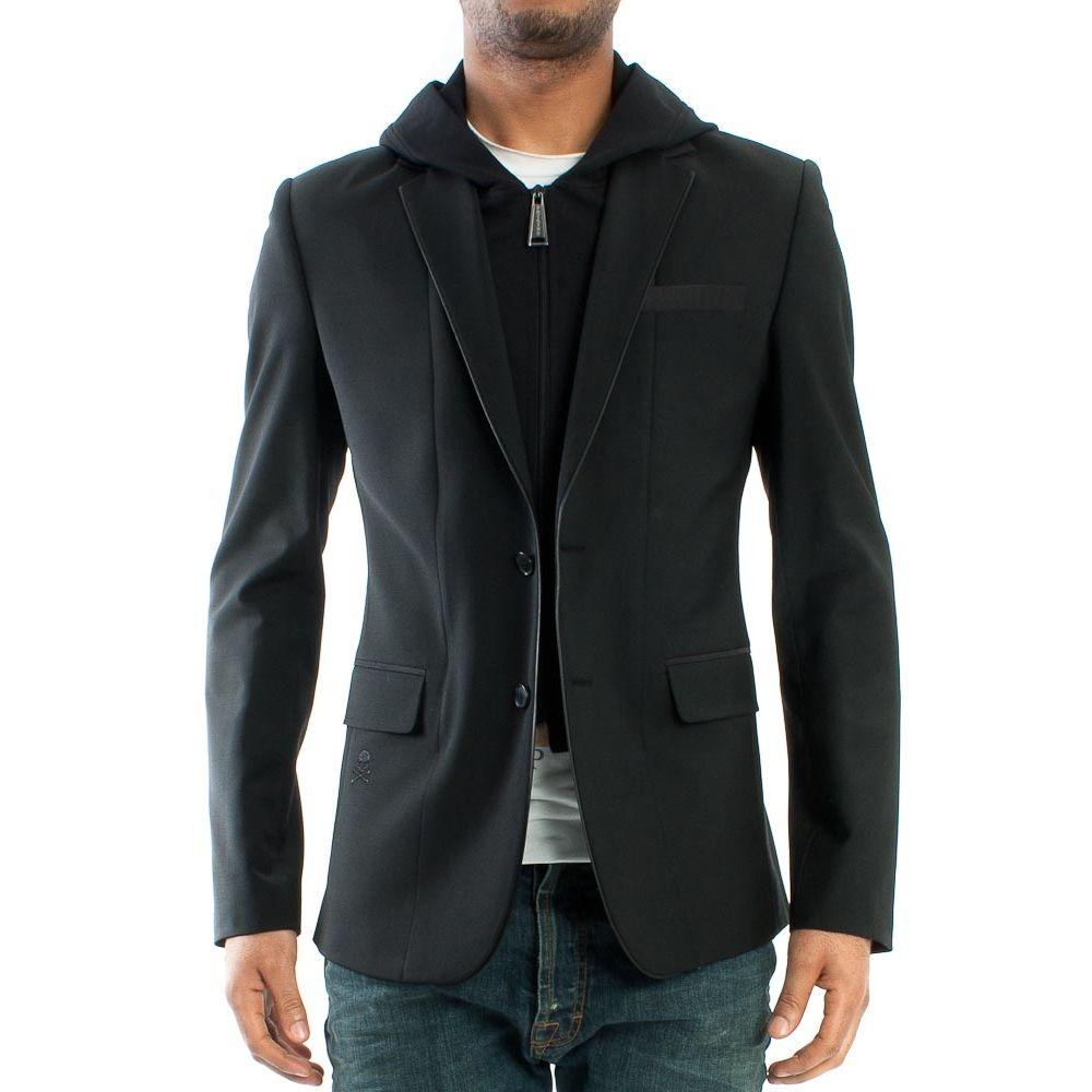 """PHILIPP PLEIN - MEN """"Manchester"""" Slim Fit Black Hooded Blazer Jacket"""