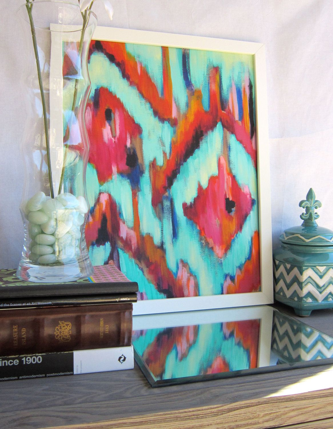 16x20 Artist Painting Print abstract Ikat artwork with turquoise. $60.00, via Etsy.