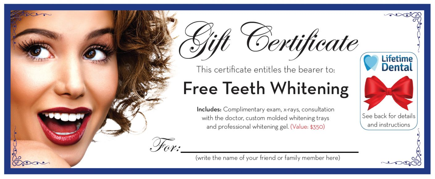 Free Dental Gift Certificate Template Office Free With This Certificate Entitles The Bearer To Template Be Gift Certificate Template Dental Gifts Free Dental