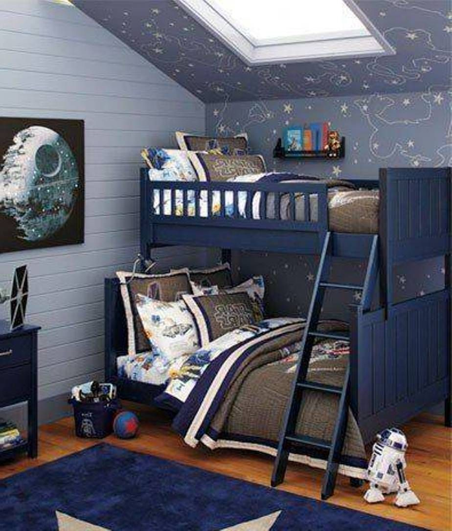 Boys space bedroom star wars outer space bedroom for twins for Outer space decor ideas
