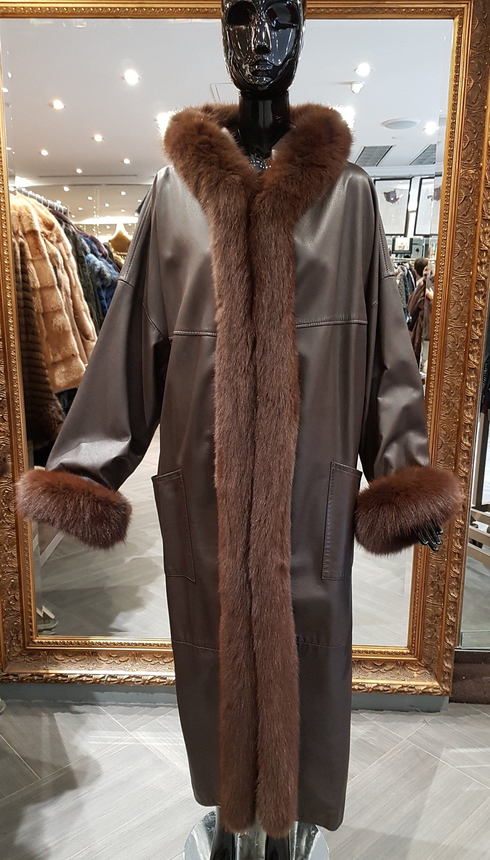 90s Vintage Leather and Fox Fur Coat Hooded Women's 2XL