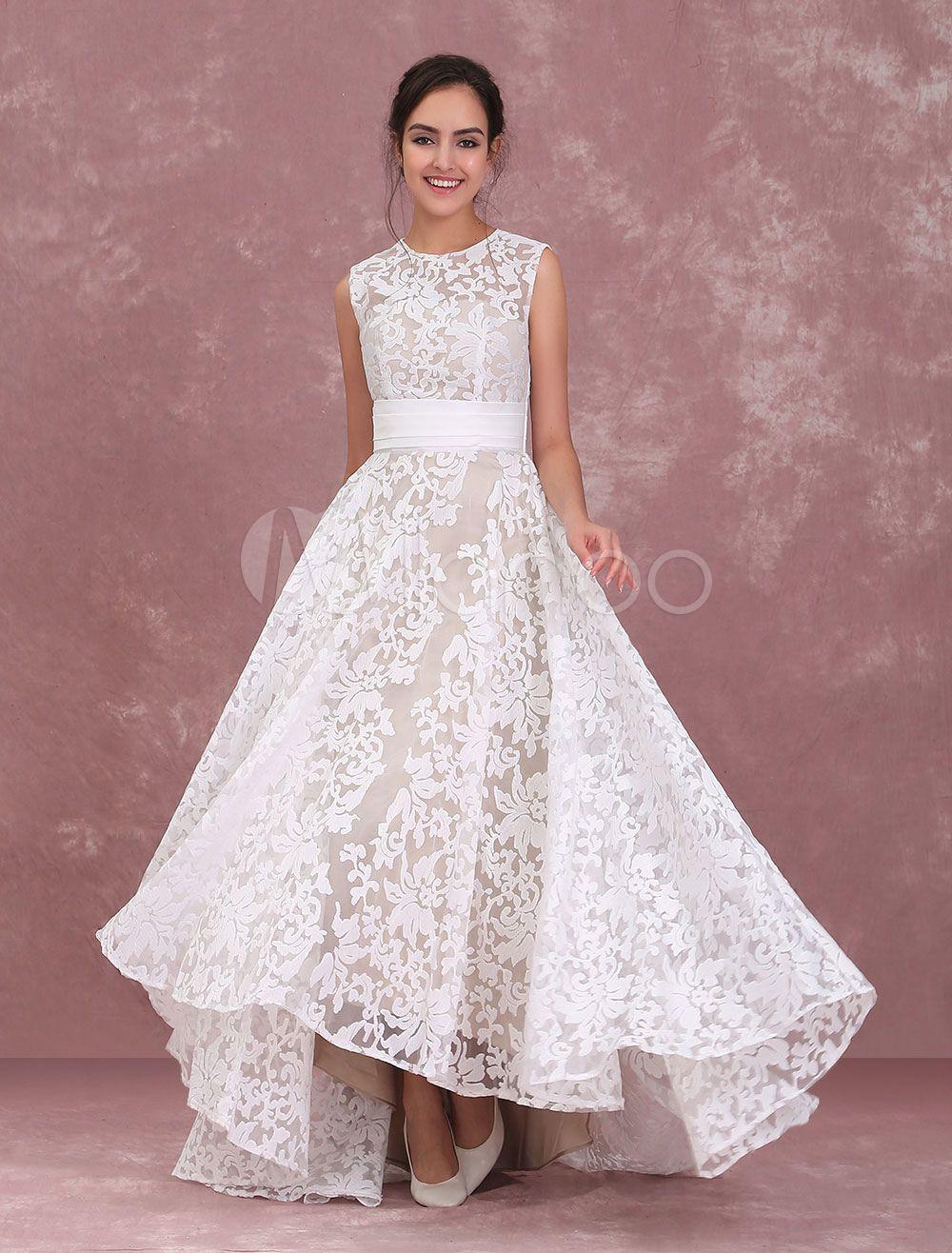 6a30d72c3f2 Champagne Wedding Dresses Lace High Low Beach Bridal Dress Pleated Sash  Asymmetrical Wedding Gown - Milanoo.com