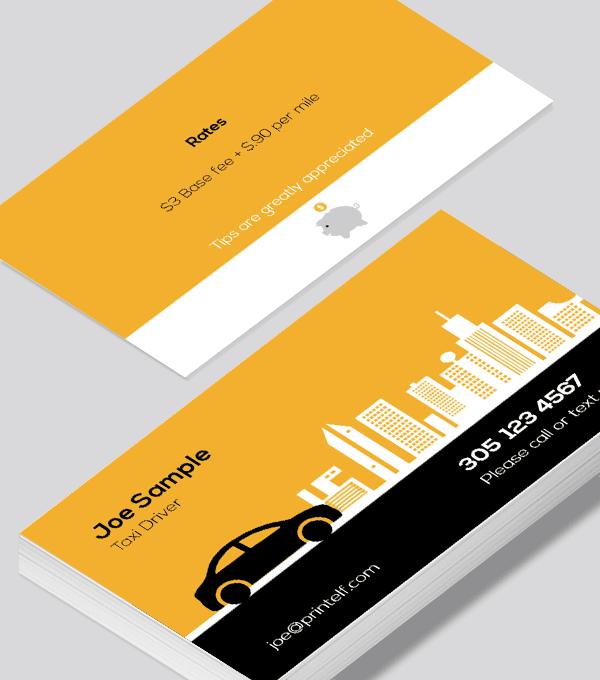 Taxi Driver Business Card Modern Design Modern Business Cards Design Business Card Modern Free Business Card Templates