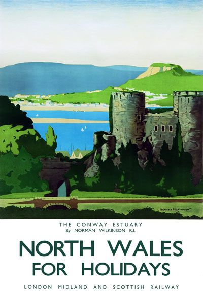 Cardiff Castle Wales Travel By Train Railway Vintage Retro Poster Picture