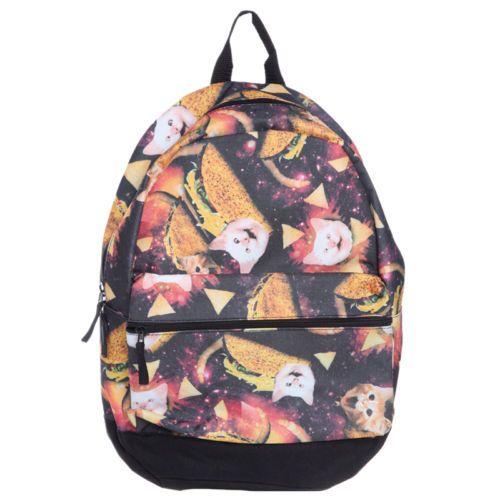 Taco Cat Galaxy Food Kitty Kitten Universe Chips Bag Backpack Bookbag | eBay