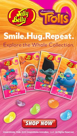 Inspired by the DreamWorks© Trolls movie (in theaters November 4, 2016), here are all of your favorite characters, including Branch, Poppy and Biggie, along with a hugfest mix of delicious Jelly Belly jelly beans in vivid colors and flavors that mimic the brilliance of the Trolls. Get yours now at JellyBelly.com!