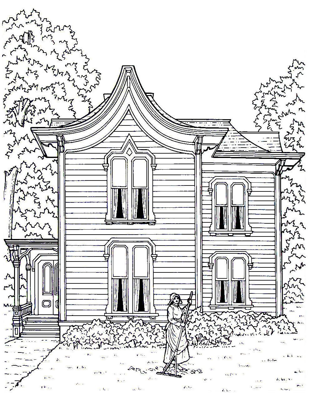 Victorian House printable coloring book page. A clapboard house with ...