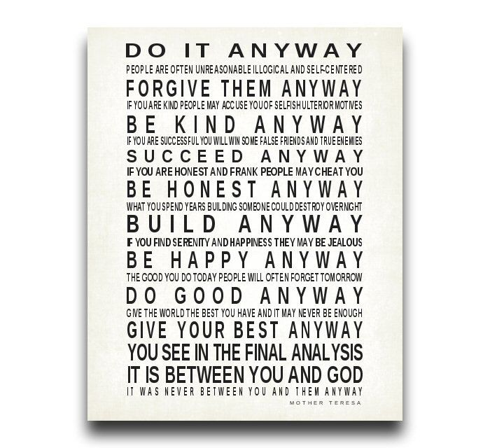Do It Anyway Large Sign Canvas Print Quote By Mother Teresa Print