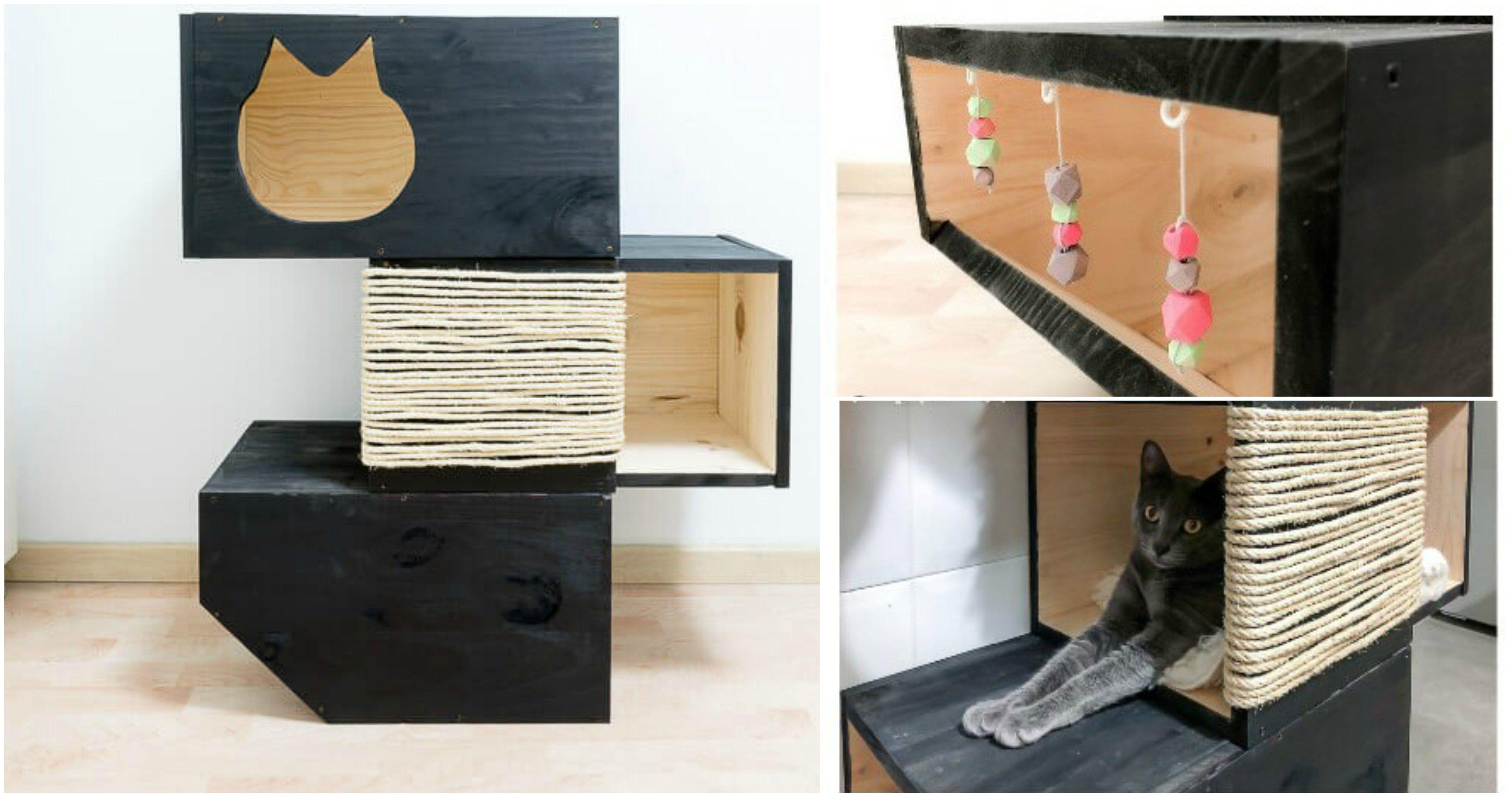 DIY Cat Bed with Scratching Post Diy cat bed, Cat