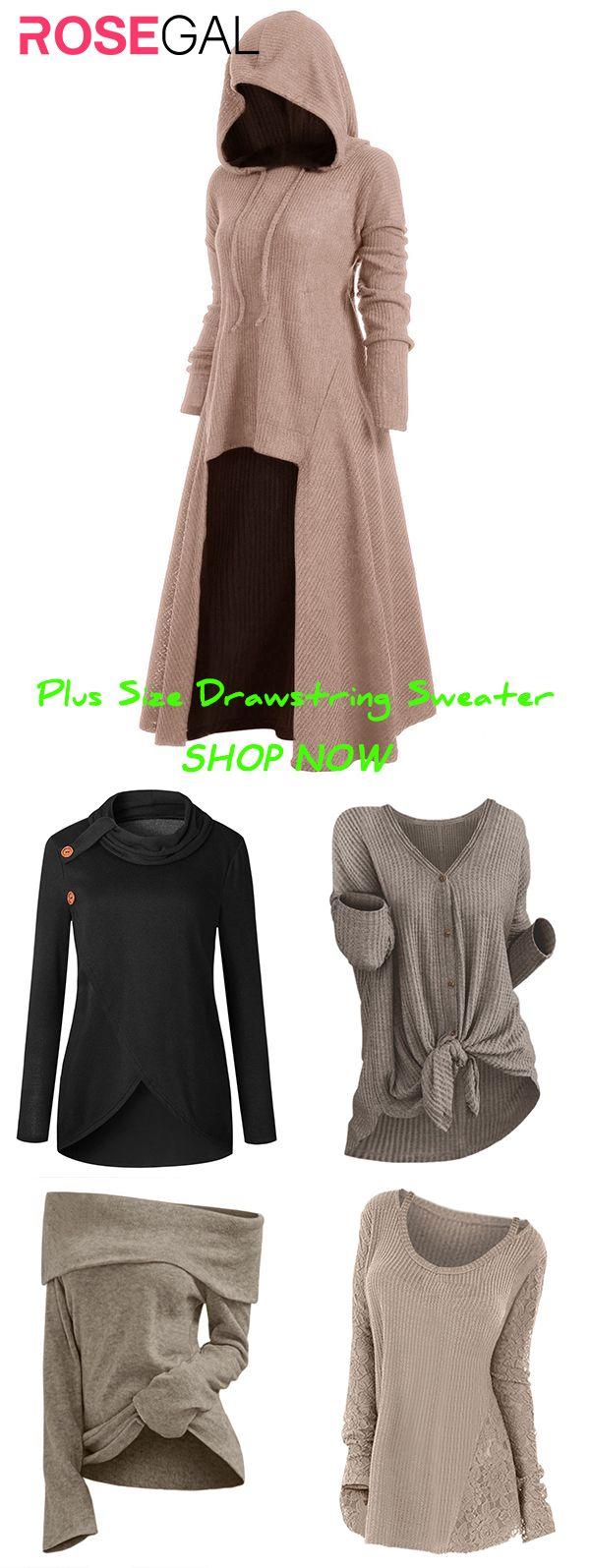 Rosegal Plus Size Drawstring  Sweater ideas 11